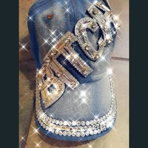 Women rhinestone baseball cap bling studded denim